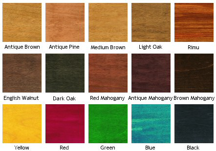 wood dye colors